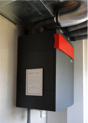 Slika 2. Centralni prezračevalni sistem, rekuperator Paul Novus 300F z vračanjem vlage, ima največji izkoristek in je najtišji.